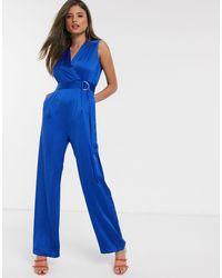 Closet Satin Jumpsuit - Blue