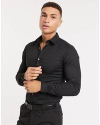 French Connection Эластичная Рубашка Узкого Кроя Из Поплина -черный