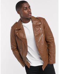 ASOS Светло-коричневая Кожаная Байкерская Куртка - Коричневый