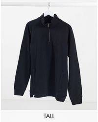 Threadbare Tall High Neck Half Zip Sweat - Black