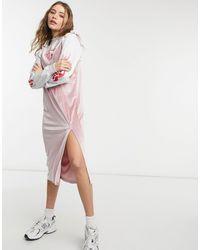 Skinnydip London 2 In 1 Midi Slip Dress In Pink Velvet With Flames Top