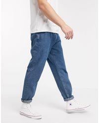ASOS Double Pleat Straight Leg Jeans In Light Blue