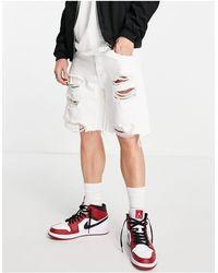 Bershka Short en jean déchiré - Blanc