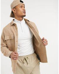 ASOS Светло-бежевая Куртка-рубашка С Узором «в Елочку» Из Ткани С Добавлением Шерсти - Естественный