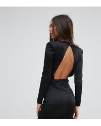 Missguided - Exclusive Open Back Mini Dress With Shoulder Pads - Lyst