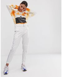 Bershka Belted Cargo Pants - White