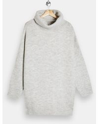 TOPSHOP - Roll Neck Oversized Knitted Sweater Dress - Lyst