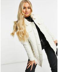 Brave Soul Кремовая Куртка-рубашка В Стиле Oversized Со Стеганым Узором В Ромбики Perkins-белый - Естественный