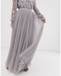 Needle & Thread Dotted Tulle Maxi Skirt - Gray