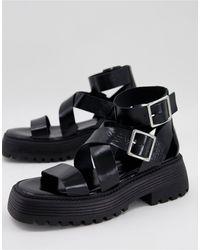 ASOS Footprint Premium Leather Chunky Sandals - Black