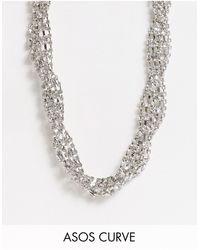 ASOS Серебристое Ожерелье С Крученым Дизайном Со Стразами - Металлик