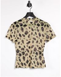 NA-KD Recycled Polyester Leopard Print Mesh Top - Multicolour