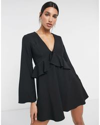 ASOS Tie Front Mini Dress With Ruffle Detail - Black