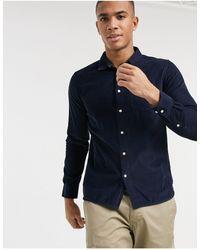 Knowledge Cotton Apparel - Темно-синяя Вельветовая Рубашка Из Органического Хлопка -темно-синий - Lyst