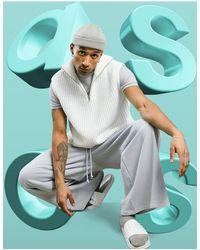 ASOS Oversized Knitted Half Zip Sweater Vest - White