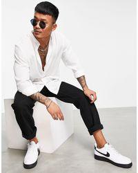 Ban.do Rudie Grandad Collar Textured Shirt - White