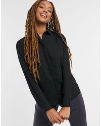 New Look Черная Однотонная Рубашка На Пуговицах -черный