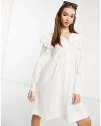 Y.A.S Белое Платье Мини С Круглым Воротником И Вышивкой Ришелье -белый