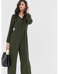 Vila Button Through Wideleg Jumpsuit - Green