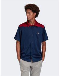 adidas Originals Темно-синяя Рубашка Premium Samstag-белый - Синий