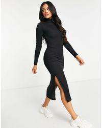NA-KD Черное Платье Миди В Рубчик С Разрезом Сбоку И Высоким Воротом -черный Цвет