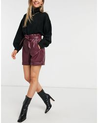 Vero Moda Leather Look Shorts With Paperbag Waist - Red
