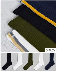Jack & Jones 5 Pack Crew Socks - Green
