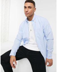 J.Crew – Langärmliges Hemd mit Waschung und kleinem Gingham-Muster - Blau
