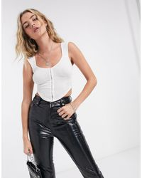 TOPSHOP With Hook And Eye Detail Ribbed Top - White