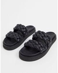 Mango Padded Plaited Flat Sandals - Black