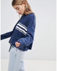 Hollister - Oversized Crop Sweat With Raw Hem And Stripe - Lyst