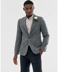 ASOS Harris Tweed Slim Blazer With Wool Herringbone - Grey