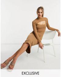 Fashion Union - Облегающее Платье Миди В Рубчик С Вырезом И Высоким Воротником -коричневый Цвет - Lyst