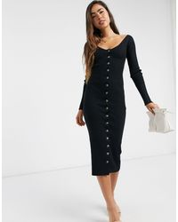 Fashion Union Knitted Midi Dress With Button Front-black