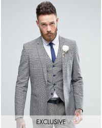 Only & Sons - Skinny Wedding Square Hem Suit Jacket In Dogstooth - Lyst