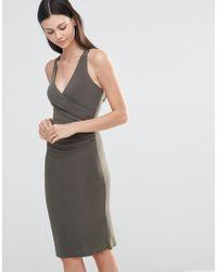 Love Midi Dress With Cross Back Straps - Gray