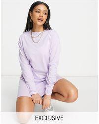 Missguided Basic Long-sleeved T-shirt Dress - Purple