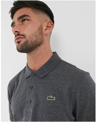Lacoste Geribbelde Poloshirt Met Textuur - Grijs