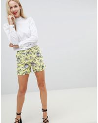 Oasis - Ditsy Tailored Shorts With D-ring Belt In Floral Print - Lyst