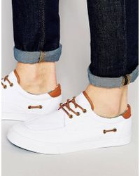 ASOS - Boat Shoes In White With Floral Lining - Lyst
