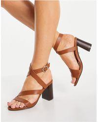 Office Maroon Strappy Block Heel Sandals - Multicolour