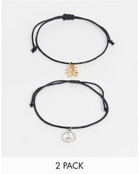 ASOS Skinny Cord Anklet Pack With Peace Charm - Black