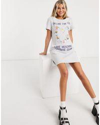 Love Moschino Skydive Print Mini Dress - Grey