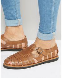 KG by Kurt Geiger - Kg By Kurt Geiger Woven Buckle Sandals In Tan Leather - Lyst