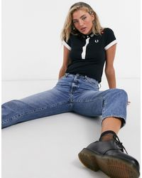 Fred Perry X Amy Winehouse Polo T-shirt With Contrast Trims And Patches - Black