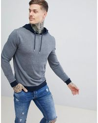ASOS DESIGN - Hoodie In Navy Marl With Contrast Tipping - Lyst