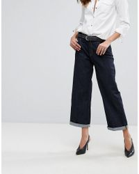 Replay Basinkim Turn Up Wide Leg Jean - Blue