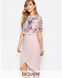 Frock and Frill Embroidered Embellished Overlay Pencil Dress With Open Back And Split - Pink