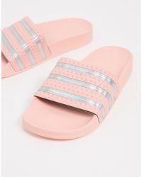 adidas Originals Розовые Шлепанцы С Серебристой Отделкой Adilette-розовый