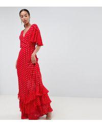 ASOS - Asos Design Tall Tiered Metallic Maxi Dress - Lyst